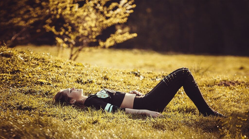 girl lying on the grass, girl, legs