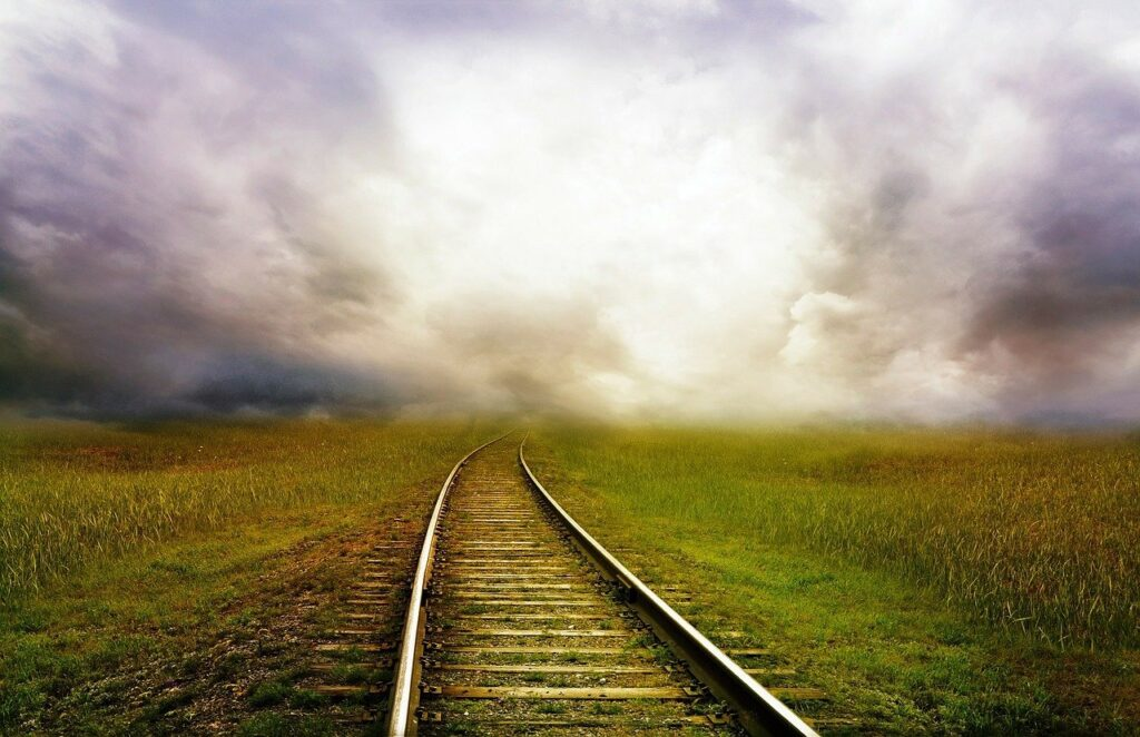 railroad tracks, tracks, railway