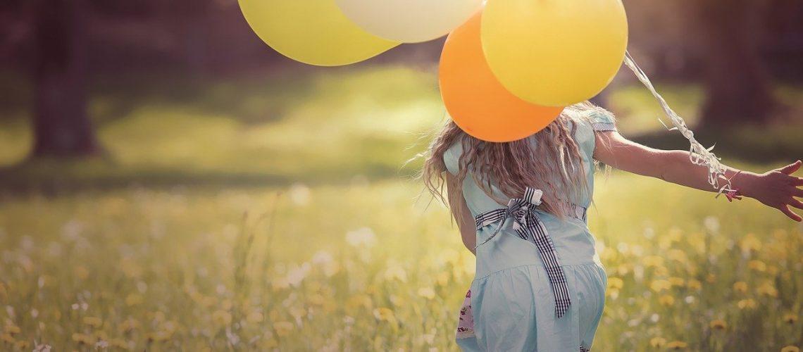 girl, balloons, child