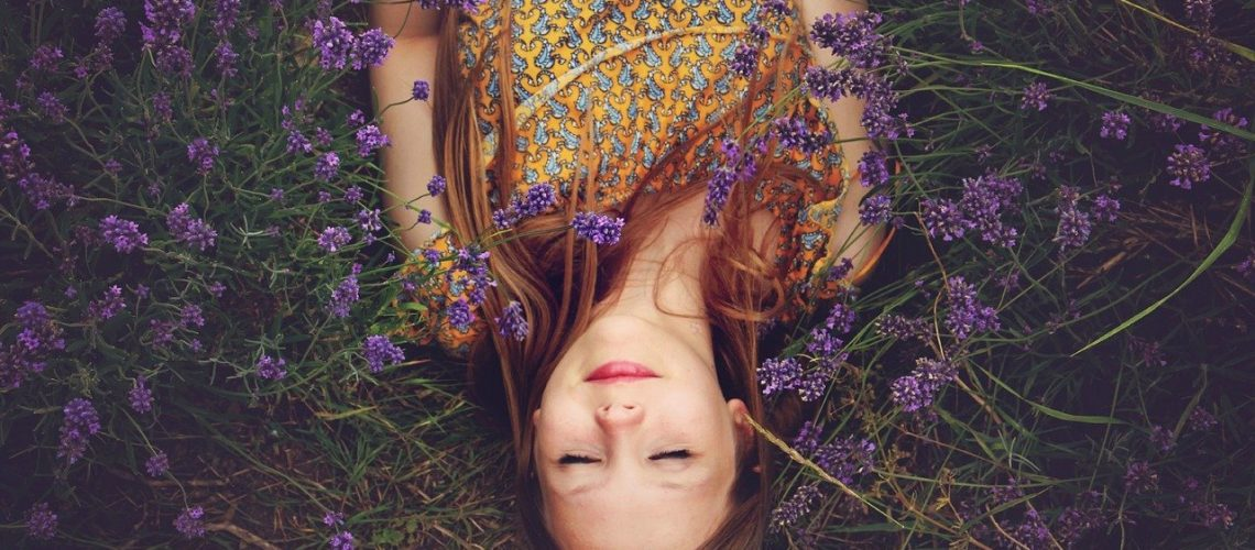 girl, lavender, asleep